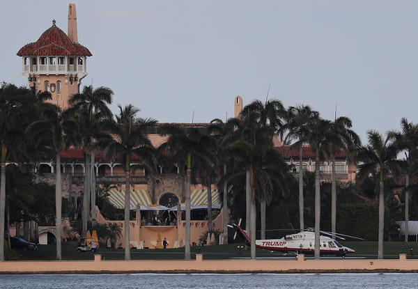 The Trump helicopter is seen at the Mar-a-Lago resort in Palm Beach, Fla., in April. The president's club is requesting foreign worker visas to staff up during peak season.
