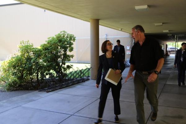 <p>Oregon Gov. Kate Brown, left, walks with Interior Secretary Ryan Zinke during a meeting discussing the Cascade-Siskiyou National Monument in southern Oregon.</p>