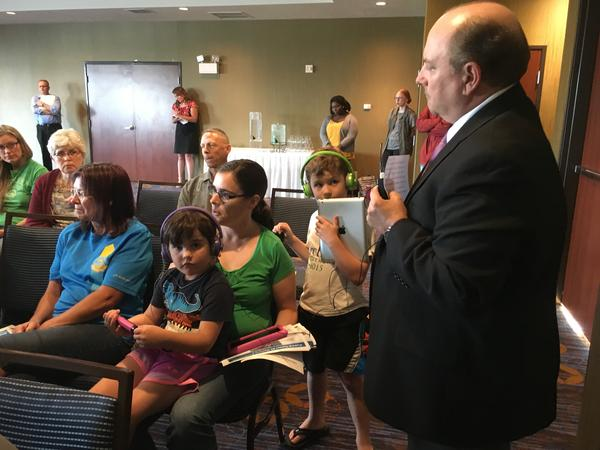 Kelly Ebert and her children attended a U.S. Department of Energy meeting in Richland Thursday night to discuss the fate of Tunnel 2 at Hanford.