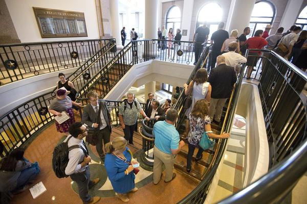 """Citizens line up to testify during a July 21, 2017 Senate State Affairs Committee hearing where Senators will take up Senate Bill 3, the so-called """"bathroom bill."""""""