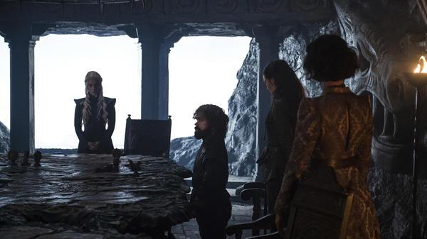 "<em>""I was really hoping for more of an open-plan kitchen.""</em>: Daenerys (Emilia Clarke), Tyrion (Peter Dinklage), Yara (Gemma Whelan) and Ellaria (Indira Varma) prepare to go House hunting in ""Stormborn."""