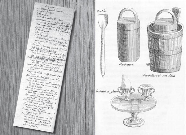 (Left) Handwritten ice cream recipe notes from Thomas Jefferson. (Right) Ice cream-making tools. Hamilton was a fan of the ice cream served at Jefferson's table.