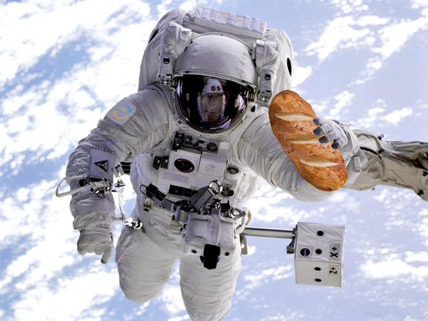 """It's not just about making one German astronaut happy with fresh bread,"" Marcu explains. ""There's really a deeper meaning to bread in space."" Above, a photo illustration of bread in space."