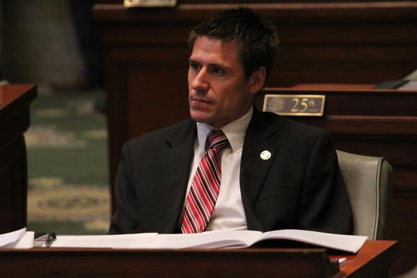 Sen. Andrew Koenig, R-Manchester, listens to debate Monday. Koenig is sponsoring abortion-restriction legislation in the special session.