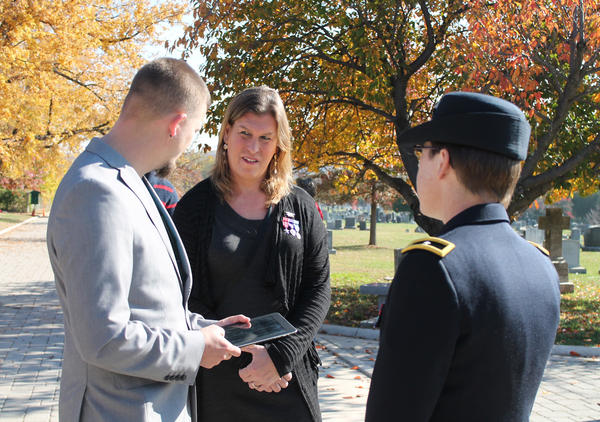 Kristen Beck, a decorated combat veteran and first Navy SEAL to come out as transgender, at Veterans' Day Wreath- Laying Ceremony at the Congressional Cemetery in Washington, DC in 2014.