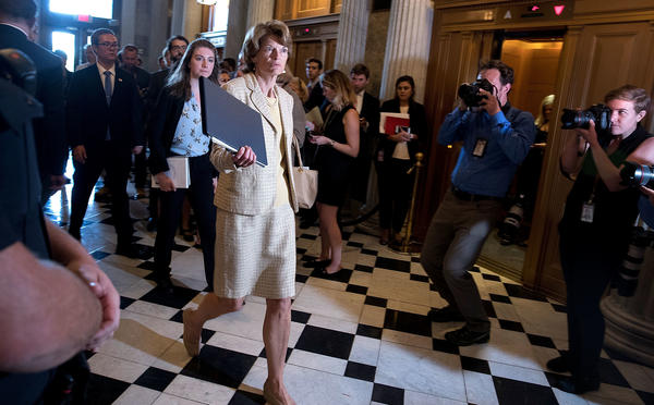 Sen. Lisa Murkowski of Alaska, in the Capitol on Wednesday, was one of two Republicans to vote against opening debate on the health care bill on Tuesday.