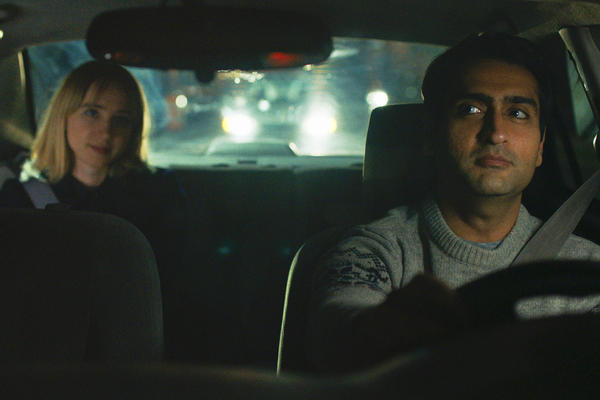 "This image released by Lionsgate shows Kumail Nanjiani, right, and Zoe Kazan in a scene from, ""The Big Sick."" The Kumail Nanjiani-led, Judd Apatow produced film made $6.8 million in three weeks of limited release. (Lionsgate via AP)"