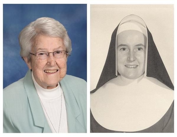 Sister Theresa Milne today and in the 60's