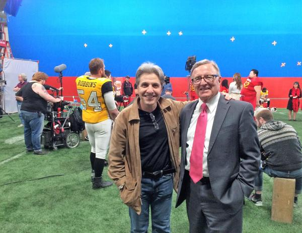 "State Sen. John DeFrancisco visited the film hub in June. He's pictured here with director Ziad Hamzeh of the film ""Sushi Tushi."""