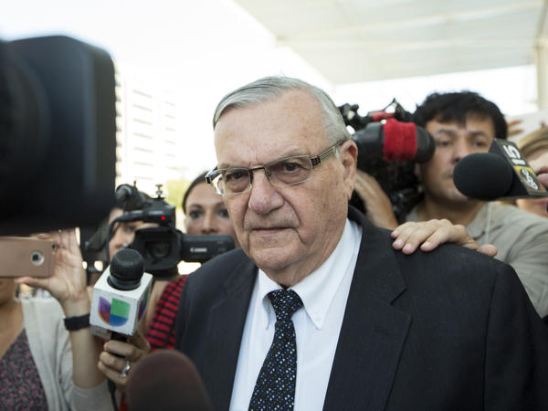 Joe Arpaio leaves a federal courthouse in Phoenix earlier this month. The former Maricopa County sheriff was found guilty Monday of criminal contempt, a charge that carries a maximum sentence of six months in jail.