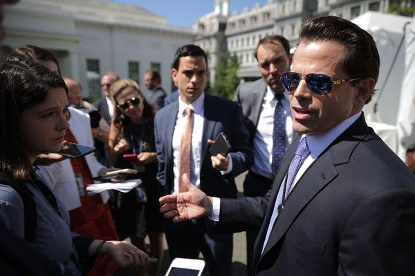"""Former White House communications director Anthony Scaramucci talks with reporters during """"Regional Media Day"""" at the White House July 25, 2017 in Washington. (Chip Somodevilla/Getty Images)"""