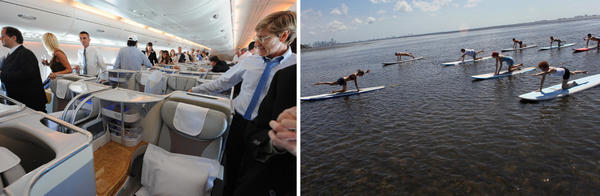 In the East, they aspire to business class. In the West, it's paddle board yoga class.