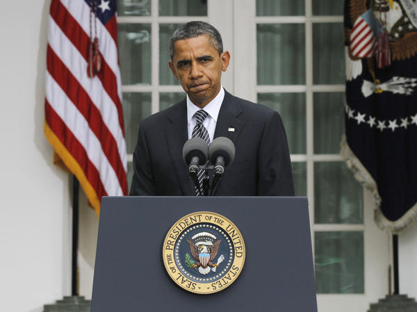 <p>President Obama speaks in the White House Rose Garden to discuss the death of Libyan leader Moammar Gadhafi. </p>