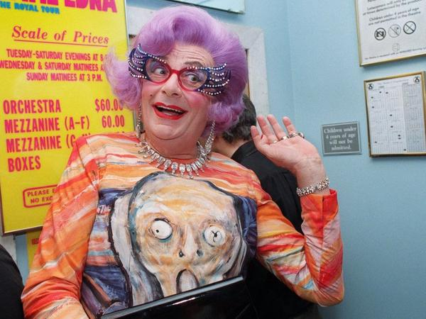 <em>The Scream</em> has been reproduced in countless formats, like this dress worn by comedian Barry Humphries in his guise as Dame Edna Everage.