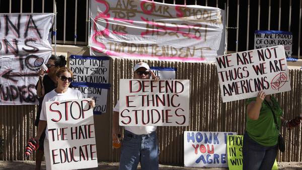 Protesters are seen in June 2011 in support of the Tucson Unified School District's Mexican-American studies program. A new state law effectively ended the program saying it was divisive.