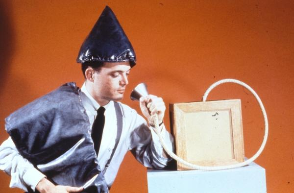 Outtake from a Devo show? Nope, It's an orgone accumulator. The device was touted as treatment for anemia, epilepsy and high blood pressure. In 1954, the FDA halted distribution of the devices.