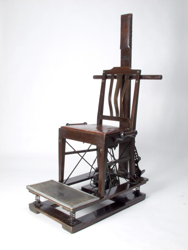 The Kellogg Vibratory Chair.  Though it looks like an instrument of capital punishment, this electric-powered chair was reputed to cure constipation and improve respiration.  The chair shook and rattled so violently that patients had to hold firmly onto side handles.