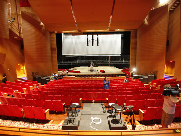 Members of the media tour the Keith C. and Elaine Johnson Wold Performing Arts Center on Thursday in advance of Monday's presidential debate.