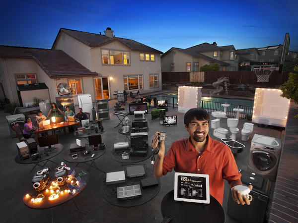 "Shwetak Patel (foreground), a MacArthur Fellow, recognized that every device in a home has a unique signature that can be used to track energy usage. The data collected by Patel's system showed that digital video recorders were responsible for 11 percent of this home's power use, just one example of <a href=""http://humanfaceofbigdata.com/""><em>The Human Face of Big Data</em></a>."