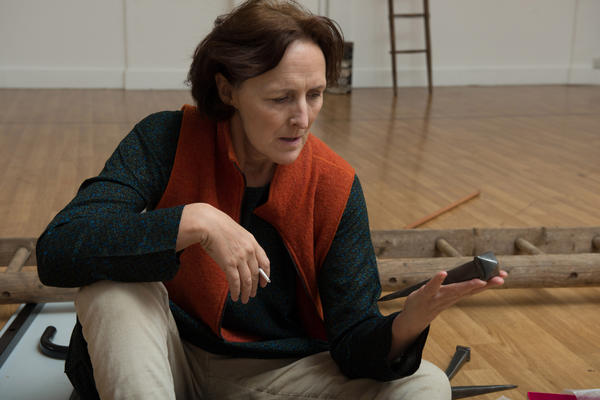Fiona Shaw rehearses for her role as the Virgin Mary in <em>The Testament of Mary</em>. Irish novelist Colm Toibin's one-woman play opens April 22 at Broadway's Walter Kerr Theater.