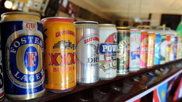 A row of beer cans in Australia, where a man's beer fridge has been blamed for playing havoc with the cellphone network in several neighborhoods.
