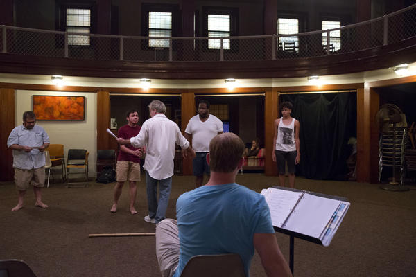Younes rehearses a scene for <em>The Tempest</em> with his castmates at St. Mark's Evangelical Church in Baltimore.