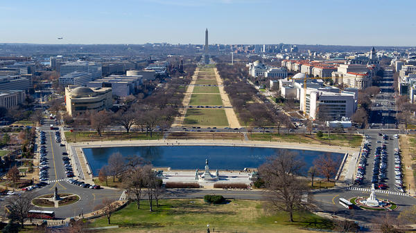 The U.S. Capitol dome provides a view down the National Mall, an area vulnerable to flooding.