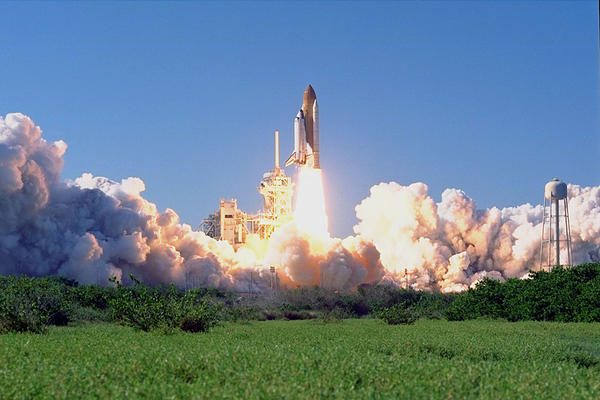 Space shuttle Discovery lifts off on Oct. 29, 1998. Discovery carried a crew of six, including Payload Specialist John H. Glenn Jr., senator from Ohio, marking his second voyage into space after 36 years. Glenn returned as the world's oldest astronaut to the high frontier he pioneered for America 36 years prior.