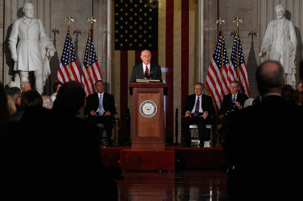 Glenn delivers remarks after being presented with the Congressional Gold Medal during a ceremony at the U.S. Capitol, Nov. 16, 2011 The medals were presented to Glenn and Neil Armstrong, Michael Collins and Buzz Aldrin, the crew of the Apollo 11 mission to the moon.