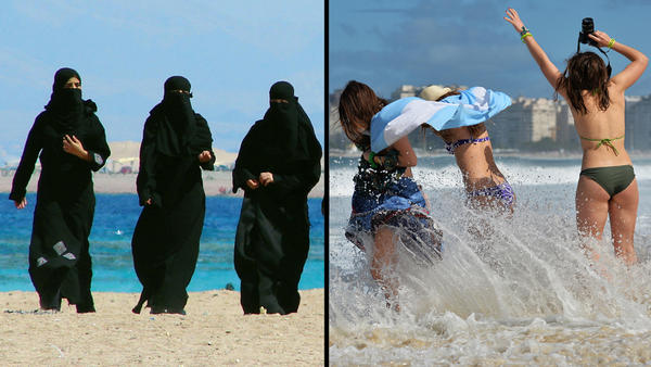 On the left: Women wearing burqas walk by the Gulf of Aqaba in Jordan in 2006. Right: Women in bikinis visit a beach in Rio de Janeiro in 2013.