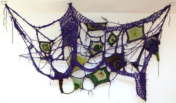 Sheila Pepe, <em>Your Granny's Not Square</em>, 2008, Crocheted shoelaces and yarn, 84 x 144 x 48 in.
