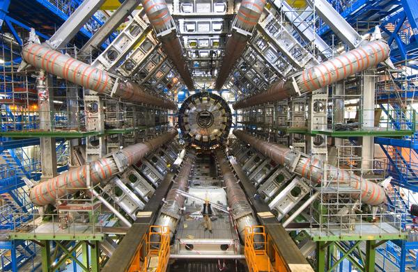 "The <a href=""http://home.web.cern.ch/topics/large-hadron-collider"">Large Hadron Collider</a>'s <a href=""http://atlas.ch/"">ATLAS</a> detector under construction in 2005. ATLAS is one of the tools physicists are using to try and understand how the universe works."