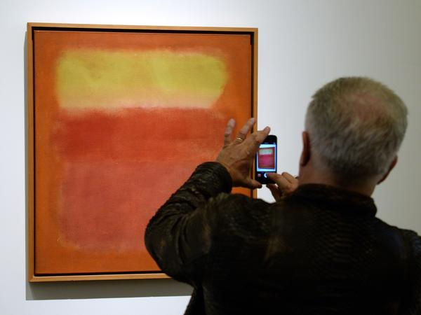 """""""Untitled"""" by Mark Rothko, on display before auction at Sotheby's, New York, in May. Does its value stem from its pedigree? Or is it valuable because of its contribution to the ongoing dialog that is human expression through the ages?"""