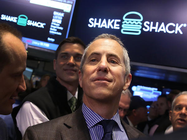 The founder and chairman of Shake Shack, Danny Meyer, visits the floor of the New York Stock Exchange.