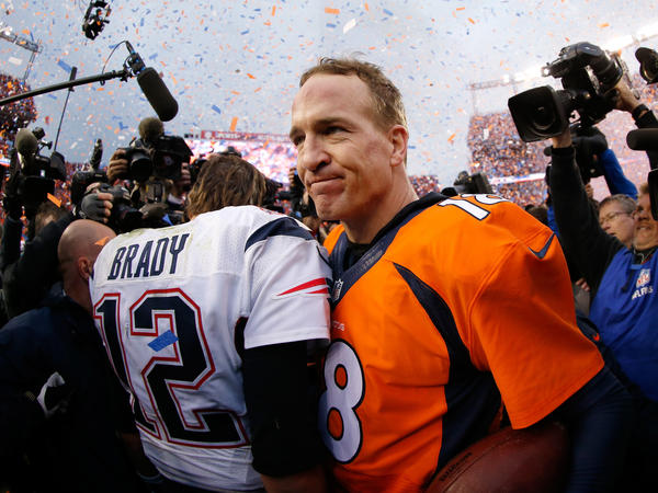 Peyton Manning and Tom Brady speak after the AFC Championship game in Denver on Sunday.