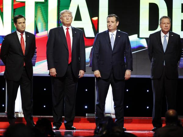 (From left) Florida Sen. Marco Rubio, Donald Trump, Texas Sen. Ted Cruz and Ohio Gov. John Kasich before the start of the Republican presidential debate Thursday in Miami.