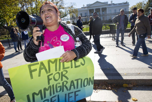 Ingrid Vaca, originally of Bolivia, rallies for immigration reform after marching to the White House on Nov. 20, 2015 — the one-year anniversary of President Obama's announcement concerning Deferred Action for Childhood Arrivals.