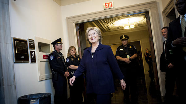 Hillary Clinton arrives to testify at a House Select Committee on Benghazi hearing in Washington, D.C., in October.