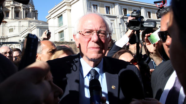 U.S. Democratic presidential candidate Bernie Sanders leaves the Vatican Friday. Sanders went to Rome to attend a conference sponsored by the Pontifical Academy of Social Sciences.
