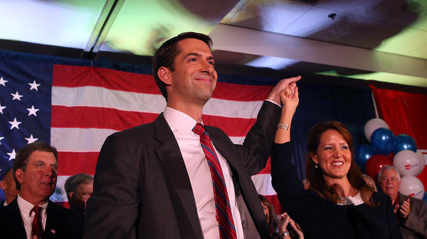 Arkansas Republican Sen. Tom Cotton and his wife, Anna Peckham, greet supporters during an election night gathering on Nov. 4, 2014.