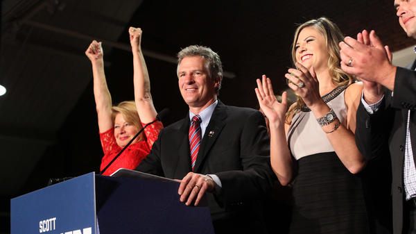 Former Massachusetts Sen. Scott Brown after losing a U.S. Senate bid for New Hampshire in 2014.