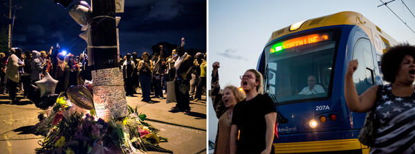 (Left) A memorial at the intersection where Philando Castile was shot on Thursday in Falcon Heights, Minn. (Right) Activists and community members protest the killing of Philando Castile on Thursday in St. Paul, Minn.