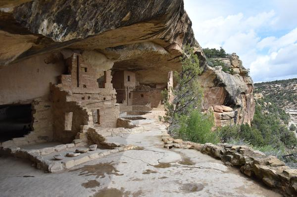 A view of Balcony House, one of the cliff dwellings built by the Ancestral Puebloans at Mesa Verde National Park in Colorado.