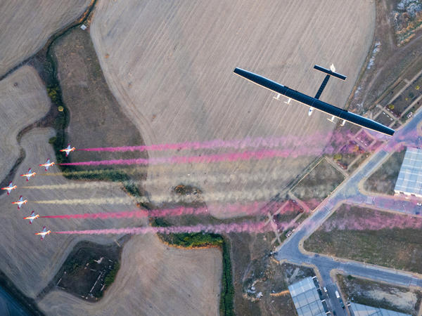 When the Solar Impulse 2 airplane arrived in Spain from New York last month, it was greeted by the Spanish Eagle Patrol.