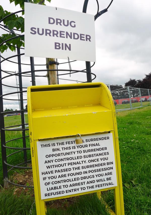 Drug surrender bins at the entrance to Kendal Calling.