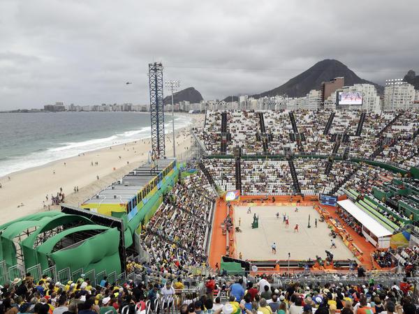 Rio's Olympic beach volleyball venue is on Copacabana beach.