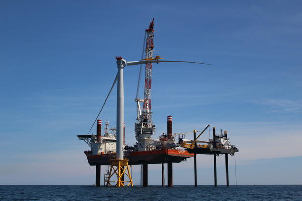 The fourth turbine was getting its blades bolted on yesterday afternoon.