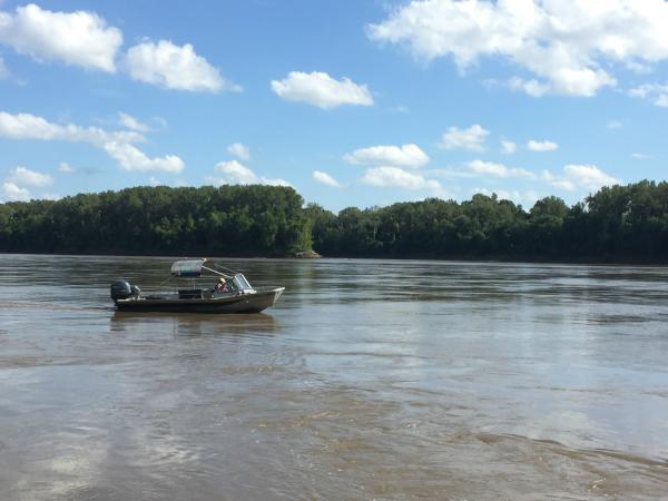Geologist Carrie Elliott takes the U.S. Geological Survey speedboat out on the Missouri River to monitor the water quality and habitat.