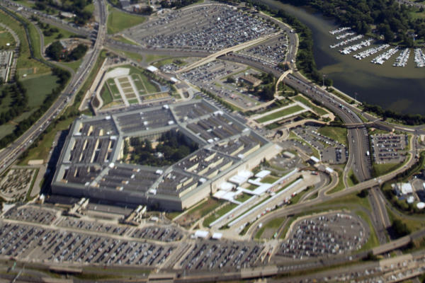 The Pentagon building complex is seen from Air Force One on June 29. An Army review concludes that commanders did nothing wrong when they kicked out more than 22,000 soldiers for misconduct after they came back from Iraq or Afghanistan – even though all of those troops had been diagnosed with mental health problems or brain injuries.