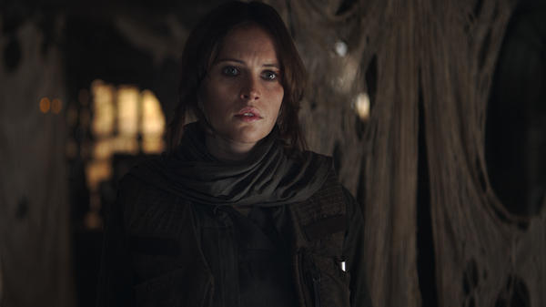 In this scene from <em>Rogue One,</em> Jyn Erso (Felicity Jones) is looking for her dad, who has had a hand in making a certain planet-killing super weapon you might have heard of.